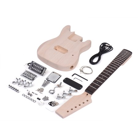 Muslady Children ST Style Unfinished DIY Electric Guitar Kit Basswood Body Maple Wood Neck Rosewood Fingerboard (Maple Guitar Neck)