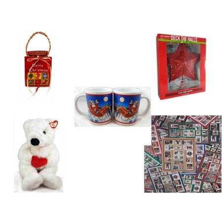 Christmas Fun Gift Bundle [5 Piece] - Musical Gift Card Holder - Deck The Halls Red Star Tree Topper 11.5
