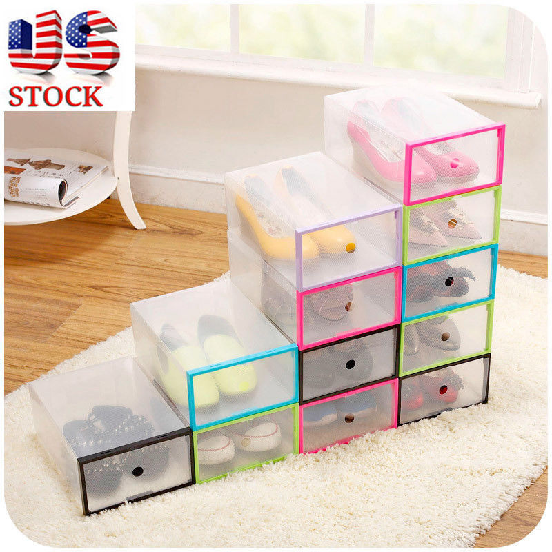 EECOO 5PCS Clear Transparent Drawer Case Plastic Shoe Boxes Storage  Organizer Stackable Box