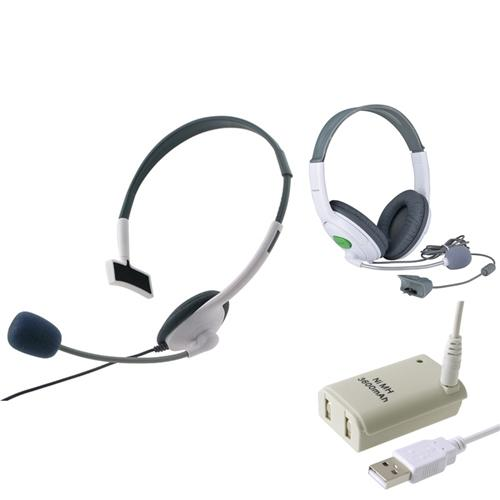 Insten 2X Live Headset MIC + Battery & USB Cable for Xbox 360 Wireless Controller White