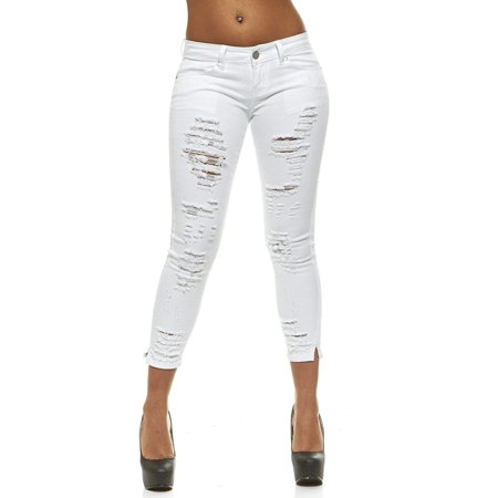 Ripped Jeans for Women Distressed Slits Skinny Jeans for Women Junior Size 7 Sexy White Wash