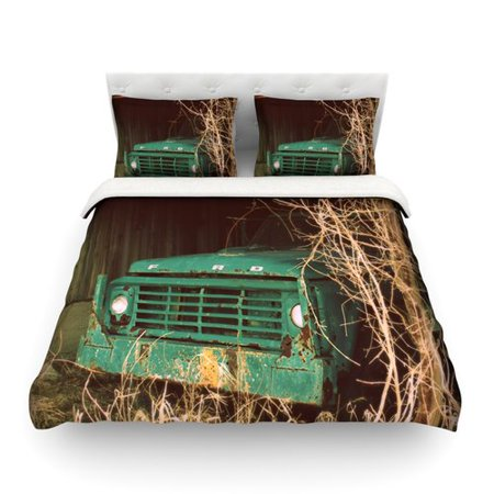 East Urban Home Ford Teal Car By Angie Turner Featherweight Duvet