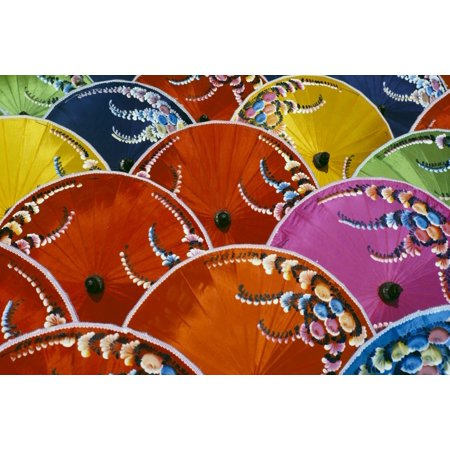 Thailand Silk Umbrella Factory Close-Up Of Many Colorful Umbrellas Canvas Art - Richard Maschmeyer  Design Pics (38 x 24)