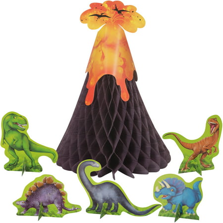 (2 pack) Unique Dinosaur & Volcano Centerpiece Decoration, 12pc total
