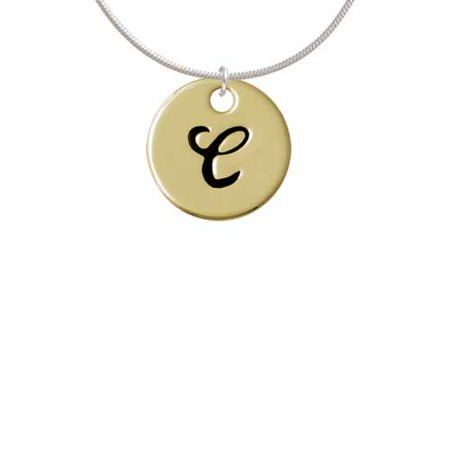 Large Gold Tone Disc Letter - C - 3/4