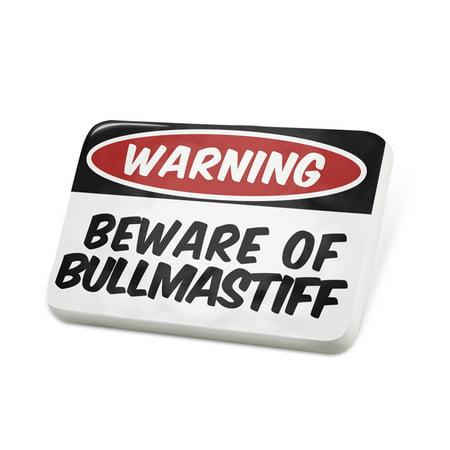 Porcelein Pin Beware of the Bullmastiff Dog from England Lapel Badge – - Bullmastiff Jewelry