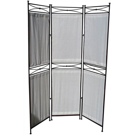modern 68 in tall black white iron canvas privacy screen 3 panels. Black Bedroom Furniture Sets. Home Design Ideas