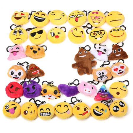 34pcs Emoji Keychain, Emoji Party Favors Mini and Cute Plush Pillows Emoji Clip On Keychain Party Supplies for Kids Christmas Birthday Classroom Rewards