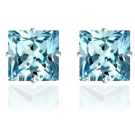 - Orchid Jewelry 14k Solid White Gold 5 mm Princess-Cut Aquamarine CZ Stud Earrings