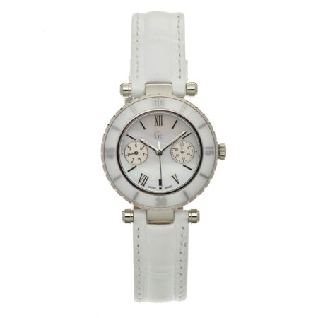 Se White Dial - GC Unisex 34mm White Leather Band Steel Case Quartz Silver-Tone Dial Analog Watch I24001L1S