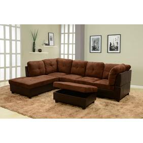 Super 2 Piece Modern Reversible Grey Tufted Microfiber Sectional Sofa With Ottoman Machost Co Dining Chair Design Ideas Machostcouk