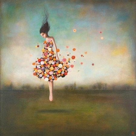 Boundlessness in Bloom Whimsical Fantasy Floral Botanical Figurative Print Wall Art By Duy Huynh