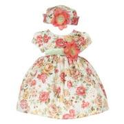 Baby Girls Orange Jacquard Floral Printed Adorned Hat Easter Dress 18M