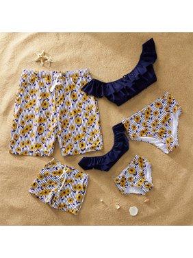 PatPat Summer Stripes Daisy Charm Family Matching Swimsuit Girl Boy Women Men Swimwear