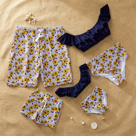 PatPat Summer Stripes Daisy Charm Family Matching Swimsuit Girl Boy Women Men Swimwear