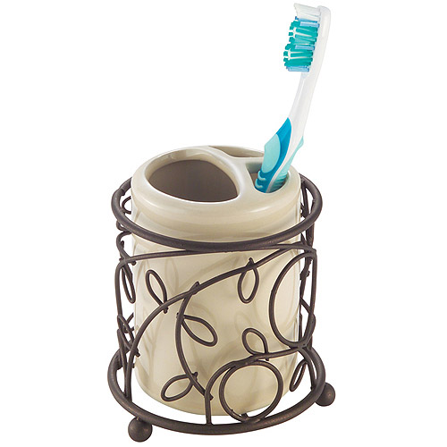 InterDesign Twigz Toothbrush Holder, Vanilla/Bronze