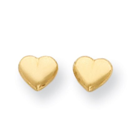 14k Yellow Gold Children's Heart Screwback Earrings