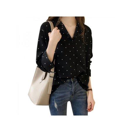 Women's Casual V Neck Long Sleeve Blouse Polka Dot Chiffon - Polka Dot Chiffon Blouse