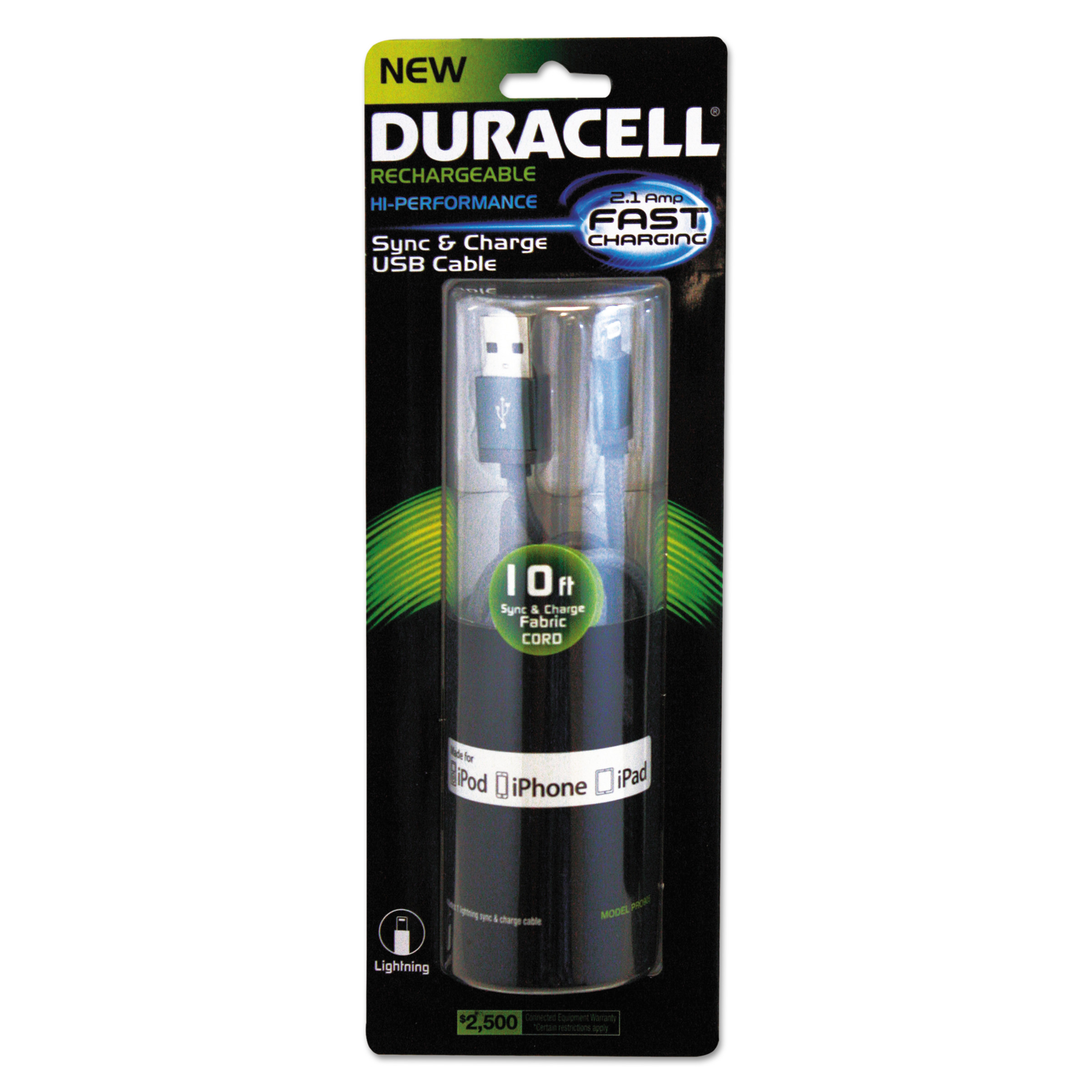 Duracell Sync And Charge Cable Micro Usb Iphone 10 Ft