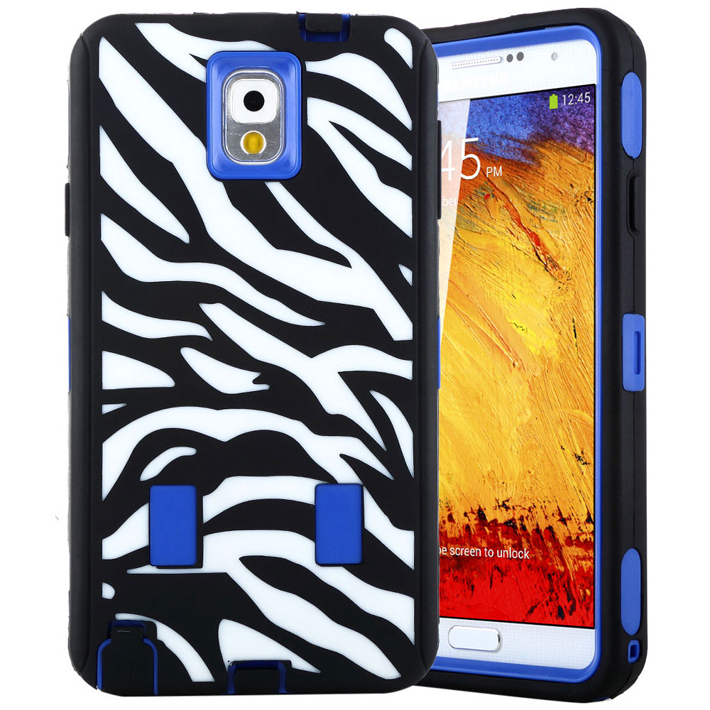 ULAK Galaxy Note 3 Case - Shock-Absorption / High Impact Resistant Hybrid Dual Layer Protective Case Cover (Hard Plastic with Soft Silicon) for Samsung Galaxy Note 3 N9000 Zebra/Dark Blue