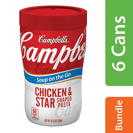 (6 Pack) Campbell's Soup on the Go Chicken & Star Shaped Pasta Soup, 10.75 oz. Cup