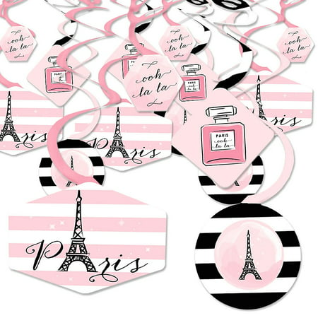 Paris, Ooh La La - Paris Themed Baby Shower or Birthday Party Hanging Decor - Party Decoration Swirls - Set of 40](Paris Themed Party Decorations)