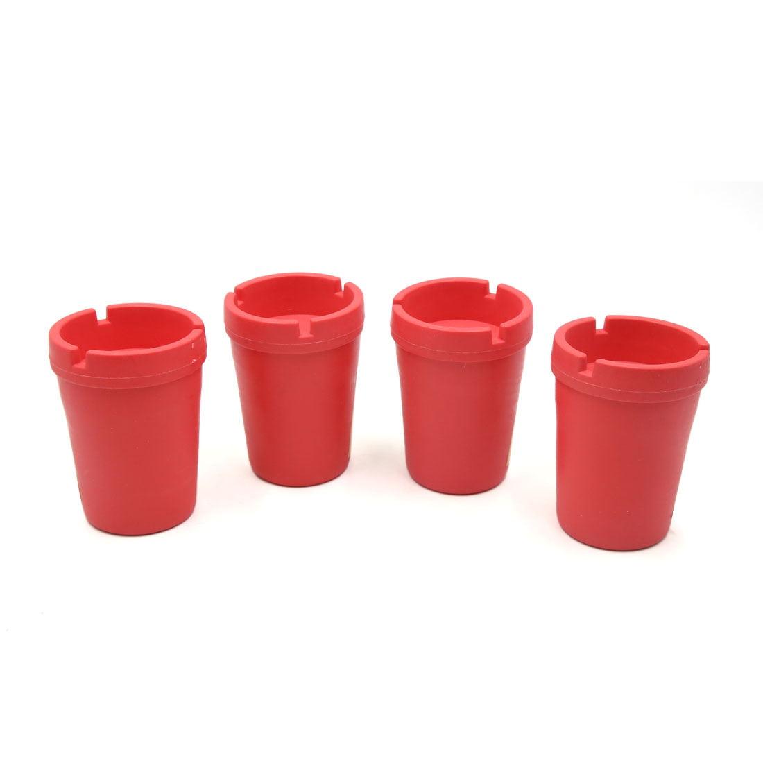 Unique Bargains4Pcs Red Car Plastic Groove Cup Shape Cigarette Holder Container Ashtray