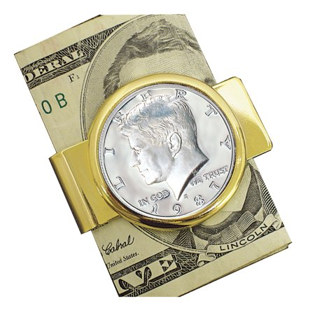 Proof JFK Half Dollar Goldtone Coin Money Clip Coin Hinged Money Clips