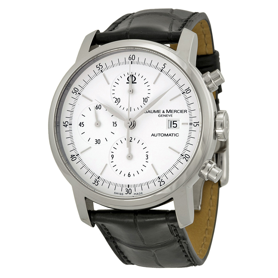 Baume and Mercier Classima Automatic Chronograph White Dial Black Leather Mens Watch 8591
