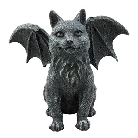 Atlantic Collectibles Gothic Guardian Winged Feline Cat Vampire Gargoyle Desktop Paperweight Figurine 6 (Lampwork Paperweight)