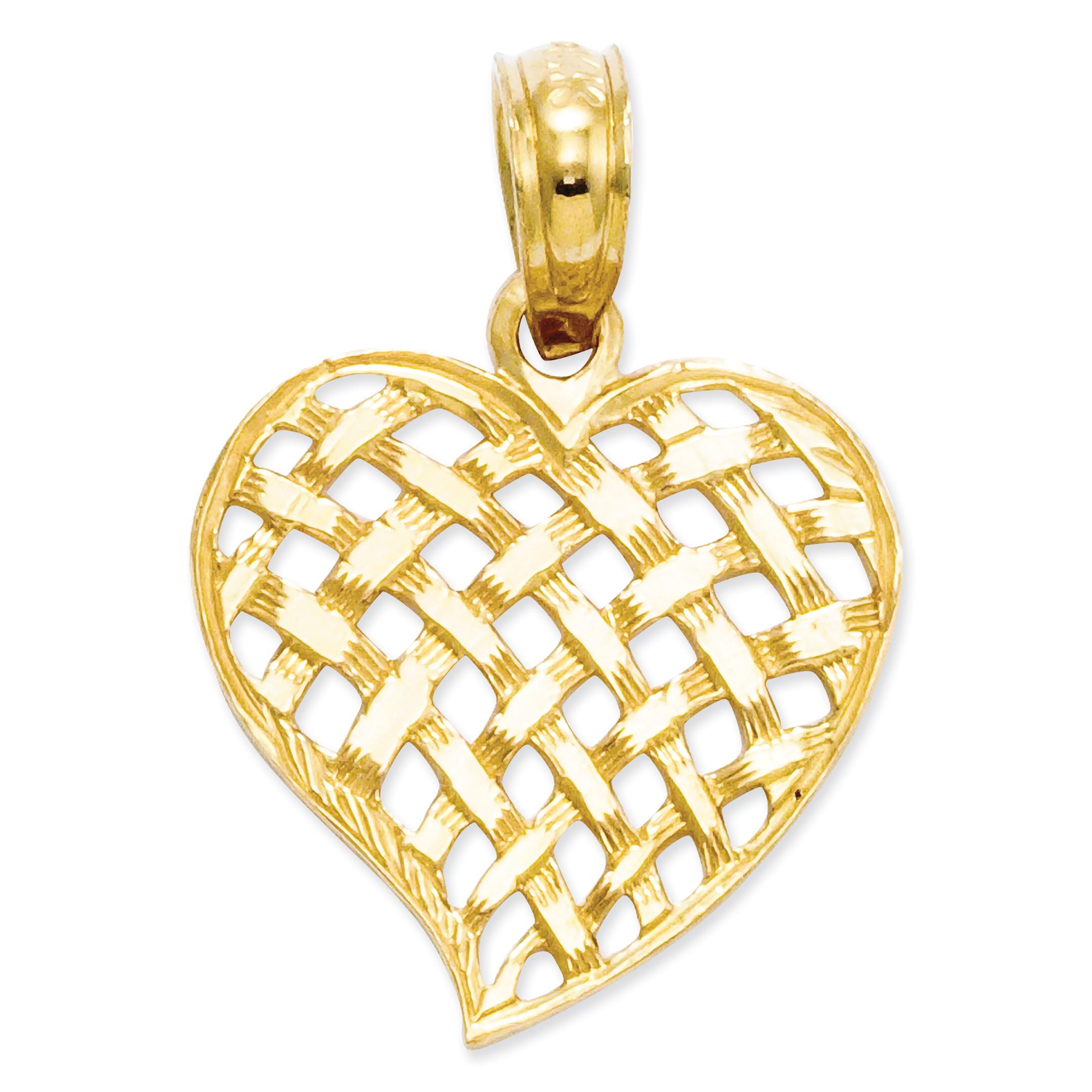 14K Yellow Gold Basket Weave Heart Pendant - image 2 de 2