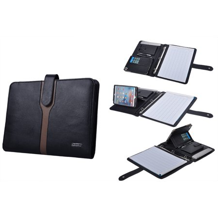 professional leather 3 ring binder portfolio for ipad mini 4 and letter paperblack