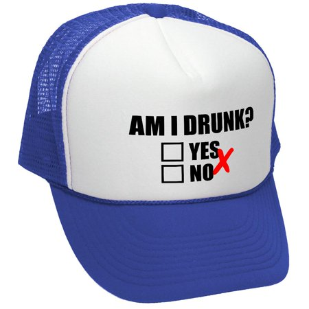 AM I DRUNK - YES OR NO - Mesh Trucker Hat Cap, Royal (Sam I Am Hat)