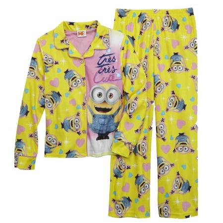 Depicable Me Girls Yellow Cute Minion Pajama Flannel Sleepwear 2 PC Sleep Set - Pj & Me
