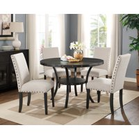 Roundhill Biony Espresso Wood Dining Set with Tan Fabric Nailhead Chairs