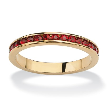 Birthstone Stackable Eternity Band in 14k Gold-Plated - July- Simulated Ruby