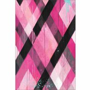 Drip Splatter Diagonal Line Grid Contemporary Modern Trendy Abstract Painting 1 Pink & Black Canvas Art by Pied Piper Creative