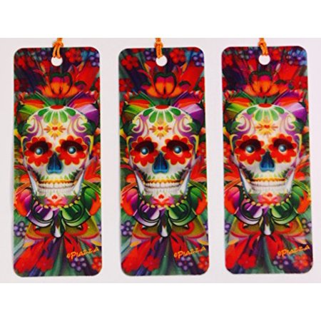 3D Psychedelic Skull Set of 3 - Bookmarks with tassels For Kids - 3d Bookmarks For Kids