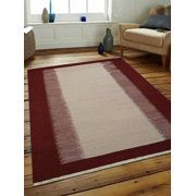 Rugsotic Carpets Hand Woven Flat Weave Kilim Wool 5'x8' Area Rug Contemporary Cream Wine D00123