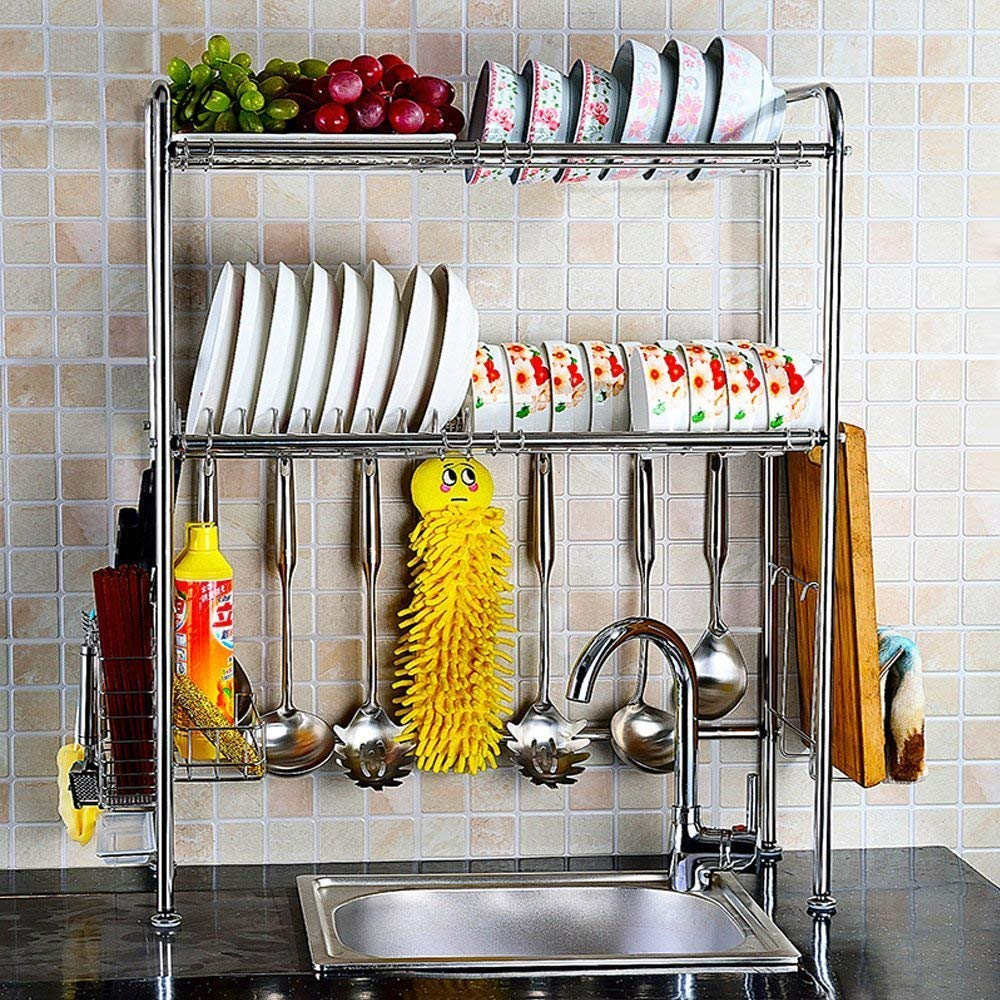 NEX Adjustable 2-Tier Stainless Steel Dish Rack With Chopstick And Utensil Holder,... by NEX