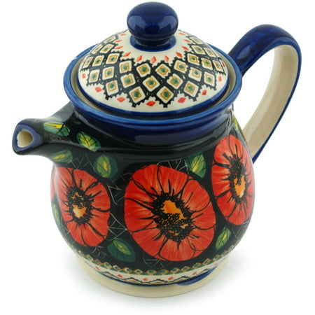 Polish Pottery 49 oz Pitcher with Lid (Poppy Passion Theme) Signature UNIKAT Hand Painted in Boleslawiec, Poland + Certificate of Authenticity