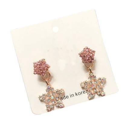 Ustyle 1 Pair Crystal Heart Star Drop Earrings Women Girls Lady 925 Silver Pin Drop Dangle Earrings - image 1 de 9
