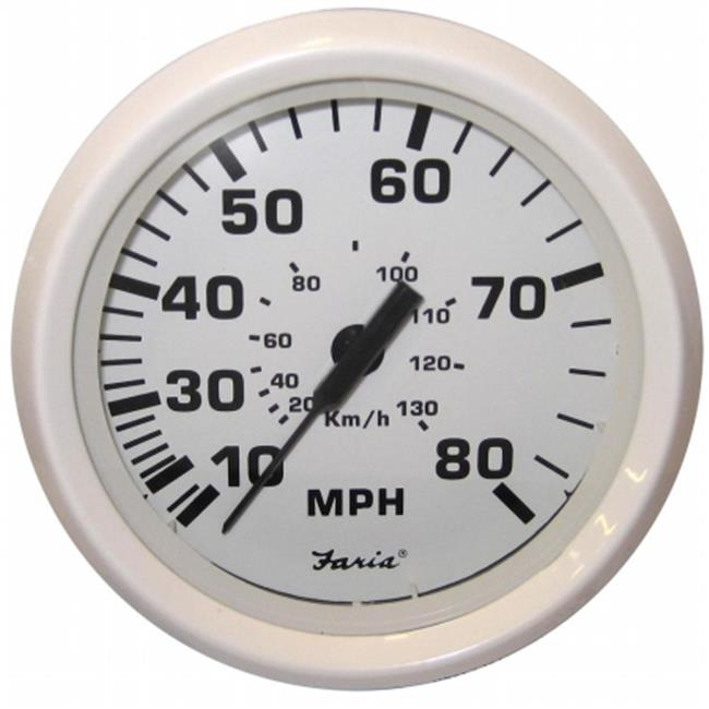 Faria Beede Instruments 33113 Dress White 4 in. Speedometer - 80Mph
