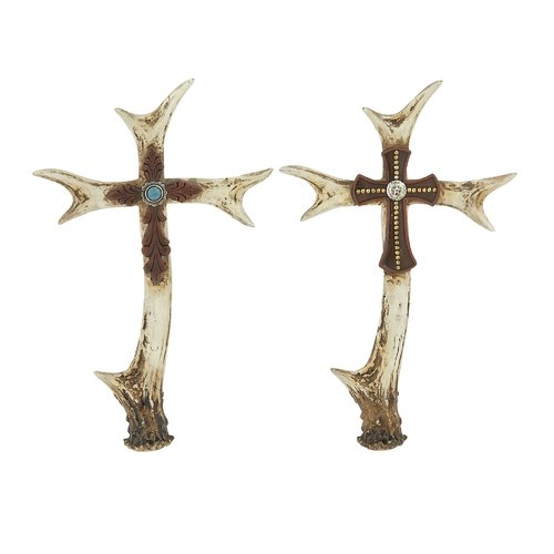 Woodland Imports 2 Piece Stunning Antler Cross Sculpture Set by