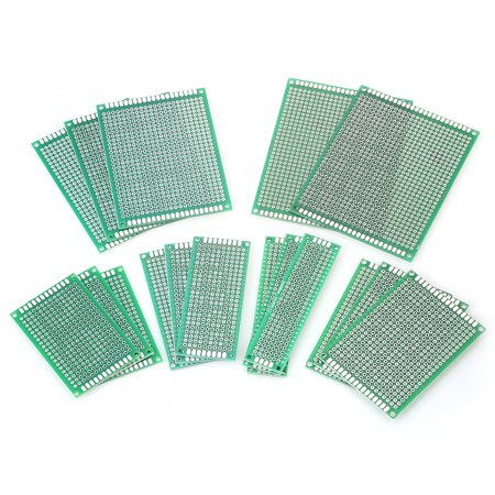 17pcs Double Sided PCB Board Prototype Kit 6 Sizes Universal Printed  Circuit Protoboard for DIY Soldering and Electronic Projects