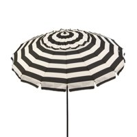 DestinationGear 8 ft Black and White Stripe Deluxe Patio and Beach Umbrella