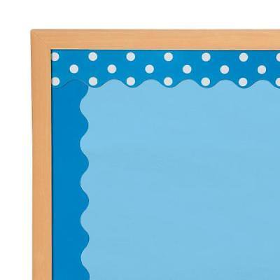 Double-Sided Solid & Polka Dot Bulletin Board Borders - Blue Per Dozen 2PK