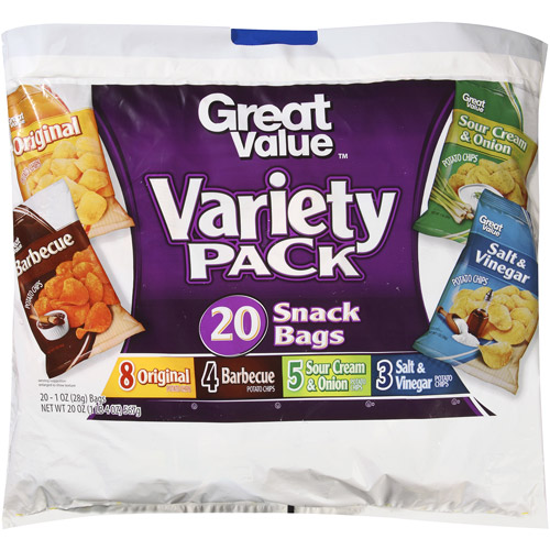 Great Value Potato Chips Variety Pack Snack Bags, 1 oz, 20 count