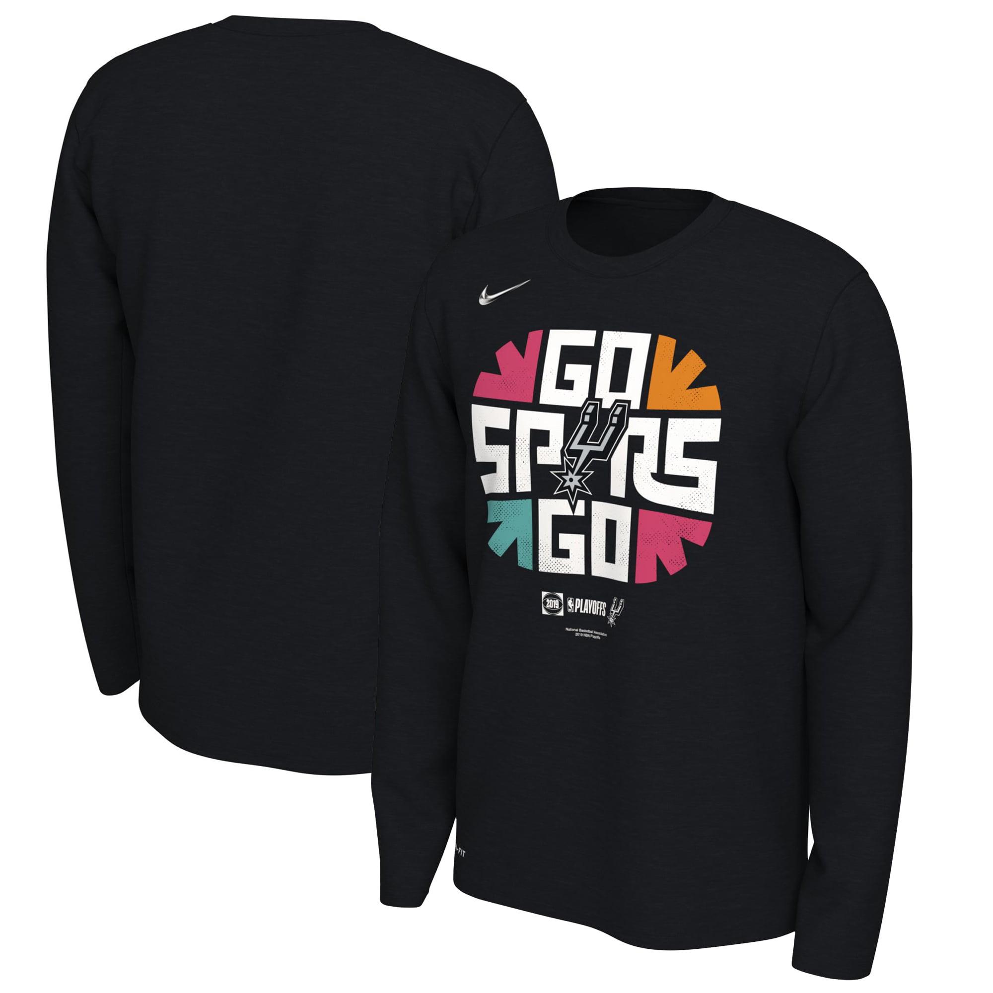 San Antonio Spurs Nike 2019 NBA Playoffs Bound Team Mantra Dri-FIT Long Sleeve T-Shirt - Black