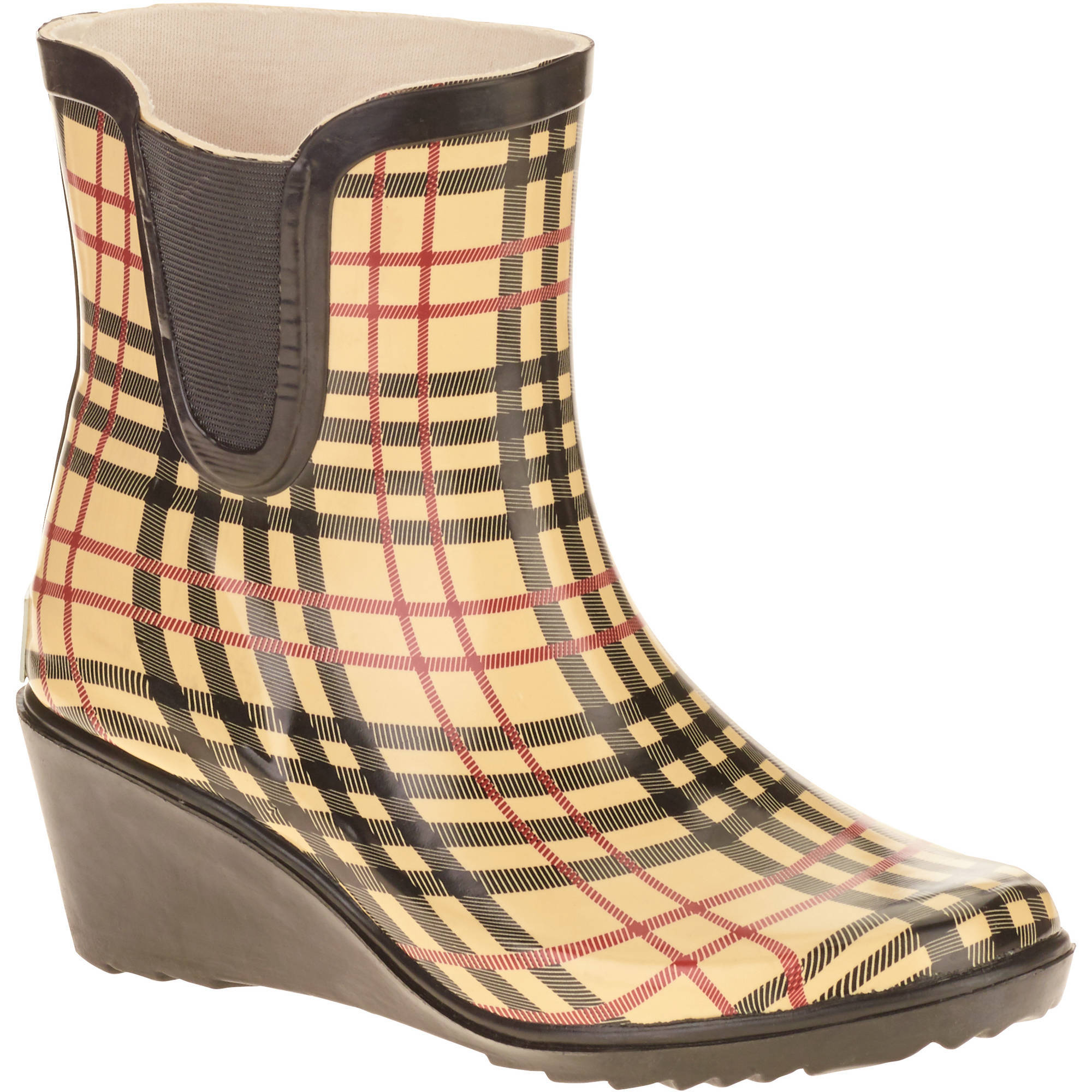Forever Young Women's Short Wedge Printed Plaid Rain Boot